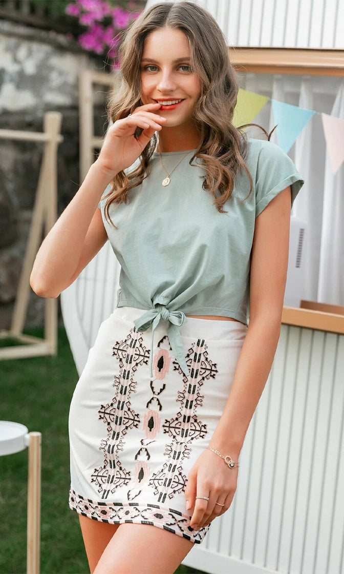 Taking A Break White Pink Floral Geometric Pattern A Line Casual Mini Skirt