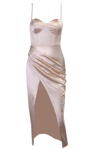 Wishful Thinking Silver Metal Mesh Sleeveless Spaghetti Strap Halter Drape Neck Backless Crop Tank Top