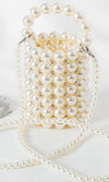 Dress Up Day White Faux Pearl Top Handle Cylinder Crossbody Handbag
