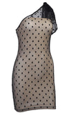 Midnight Daze Polka Dot Pattern Sheer Mesh Sleeveless One Shoulder Bow Bodycon Mini Dress - 2 Colors Available