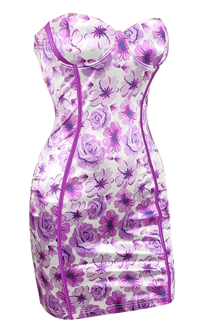 Date Night Drama Floral Pattern Strapless Satin Bustier Bodycon Mini Dress - 2 Colors Available