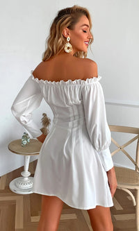 On The Balcony WHITE LONG Off The Shoulder PUFF SLEEVE Corset BUTTON FRONT CINCHED WAIST MINI Poplin SHIRT DRESS