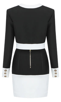 On Top Of Everything Black White Long Sleeve Round Neck Button Crop Top Bandage Bodycon Midi Two Piece Dress