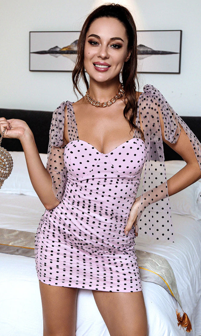 Into Trouble Purple Polka Dot Pattern Sheer Mesh Straps Sleeveless Sweetheart Neck Ruched Bodycon Mini Dress
