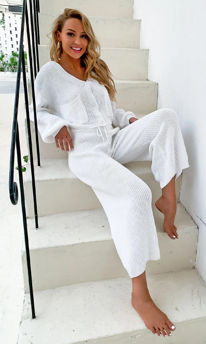 Domestic Diva White V Neck Button Up Cardigan Pocket Ribbed High Waist Wide Leg Loose Palazzo Pants Two Piece Jumpsuit