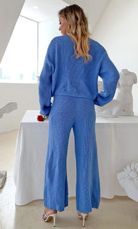 Domestic Diva Blue V Neck Button Up Cardigan Pocket Ribbed High Waist Wide Leg Loose Palazzo Pants Two Piece Jumpsuit