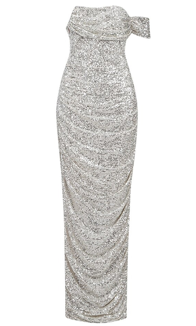 Feel Fancy Silver Sequin Off The Shoulder One Short Sleeve Draped Bodycon Maxi Dress