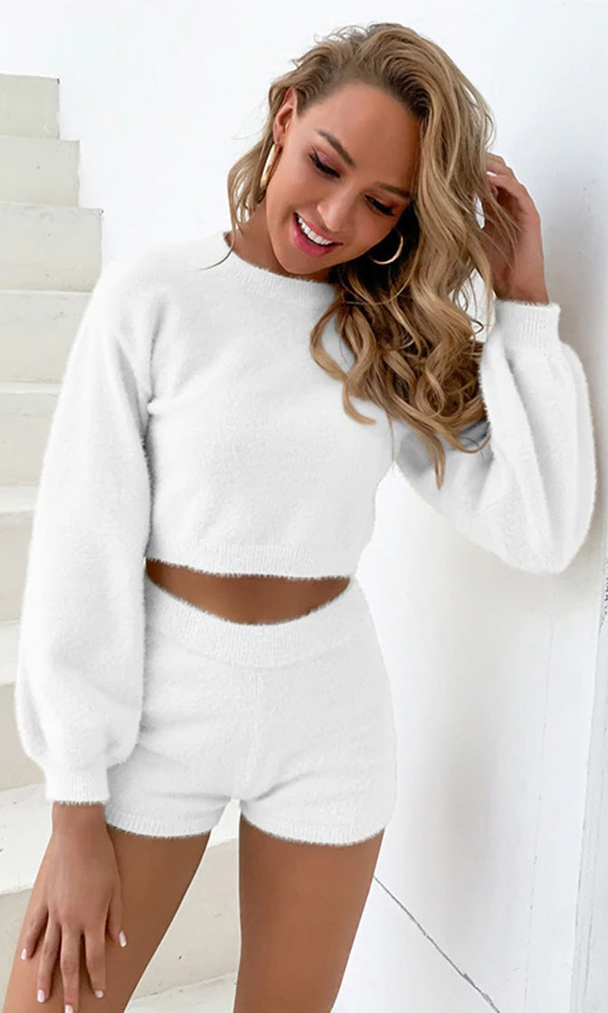 Lounge On Long Puff Sleeve Round Neck Crop Top High Waist Short Two Piece Romper Loungewear Set