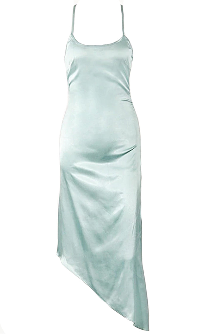 Don't Walk Away Satin Sleeveless Spaghetti Strap Scoop Neck Asymmetric Midi Maxi Dress