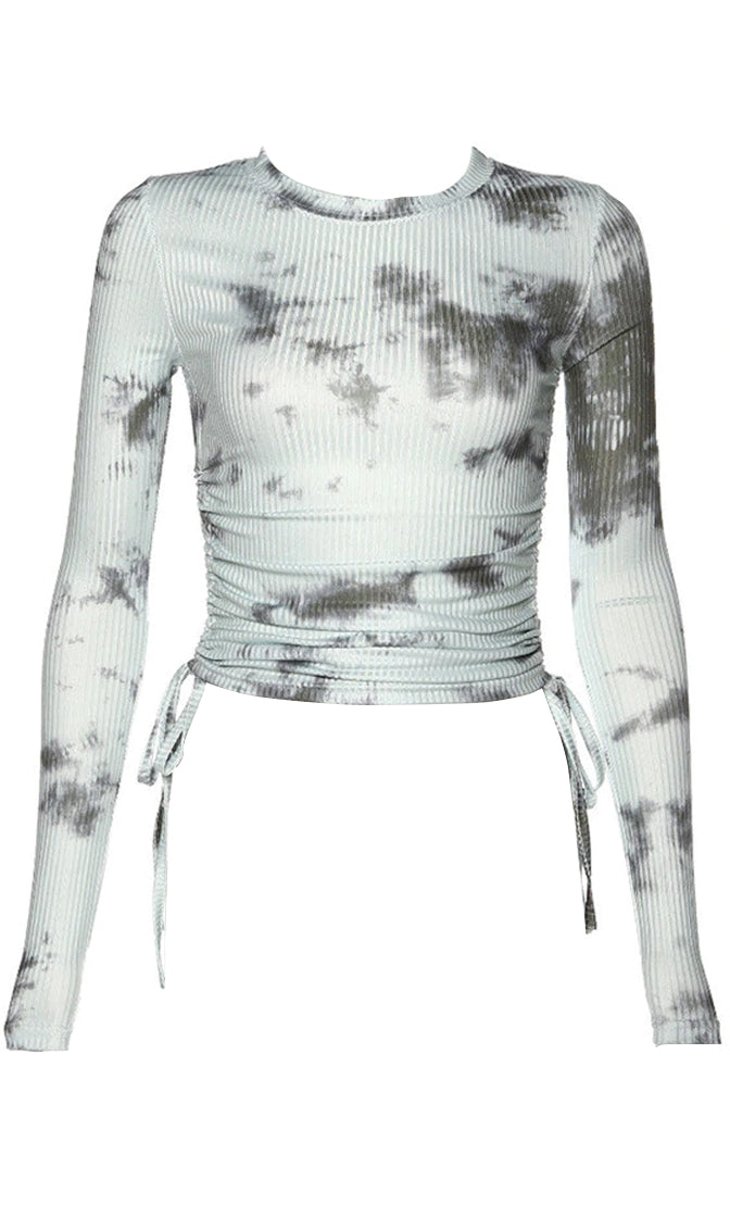 Attitude Always Tie Dye Pattern Ribbed Long Sleeve Crew Neck Ruched Crop Top