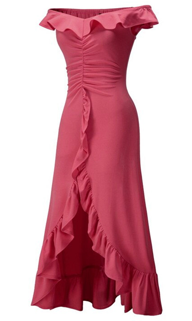 Baby Take A Bow Cap Sleeve Off The Shoulder Ruffle V Neck Split Front Maxi Dress - 3 Colors Available