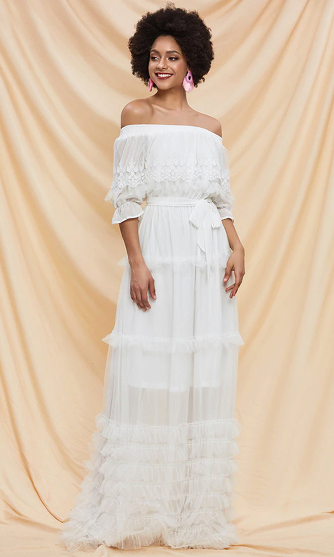 Speaking My Language White Sheer Mesh Lace 3/4 Sleeve Off The Shoulder Ruffle A Line Casual Maxi Dress
