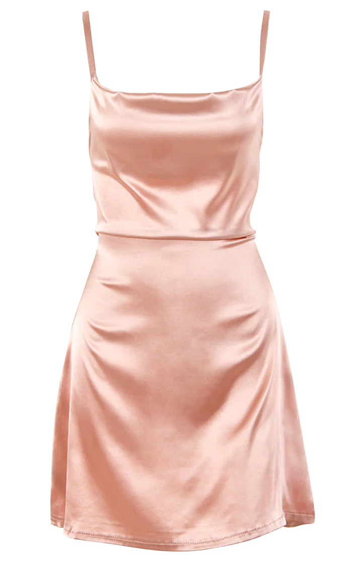 Waiting For My Right Satin Sleeveless Spaghetti Strap Drape Neck Tie Belt Flare A Line Mini Dress