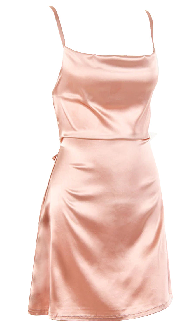 Waiting For Mr Right Satin Sleeveless Spaghetti Strap Drape Neck Tie Belt Flare A Line Mini Dress