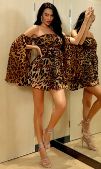 Hotter Than Hot Leopard Print Animal Pattern Long Split Sleeve Ruffle Smocked Off The Shoulder Chiffon Drawstring Ruched Mini Dress