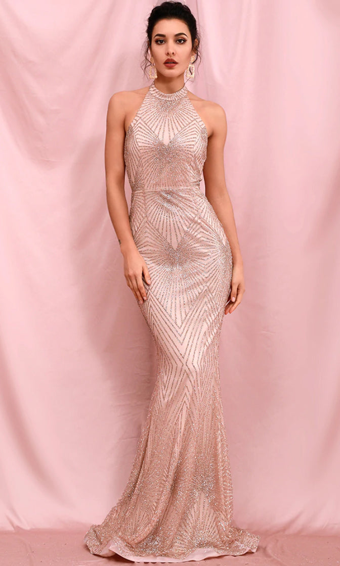 At My Request Rose Gold Glitter Geometric Pattern Sleeveless Mock Neck Backless Mermaid Maxi Dress