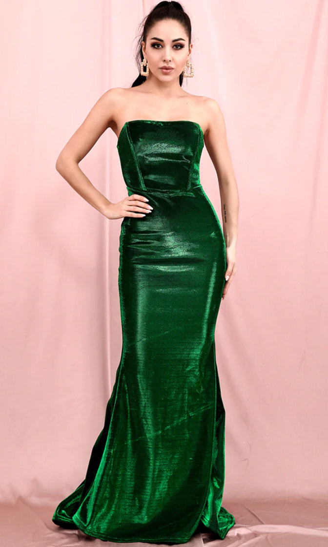 Champagne Cocktail Green Metallic Strapless Square Neck Mermaid Maxi Dress