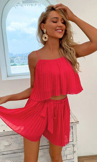 Foolish Encounter Rose Red Pleated Sleeveless Spaghetti Strap Crop Top Tie Belt Short Two Piece Romper Set