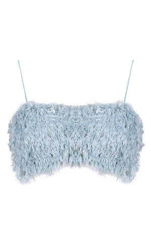 Lucky Pick Light Blue Feather Sleeveless Spaghetti Strap Square Neck Crop Top