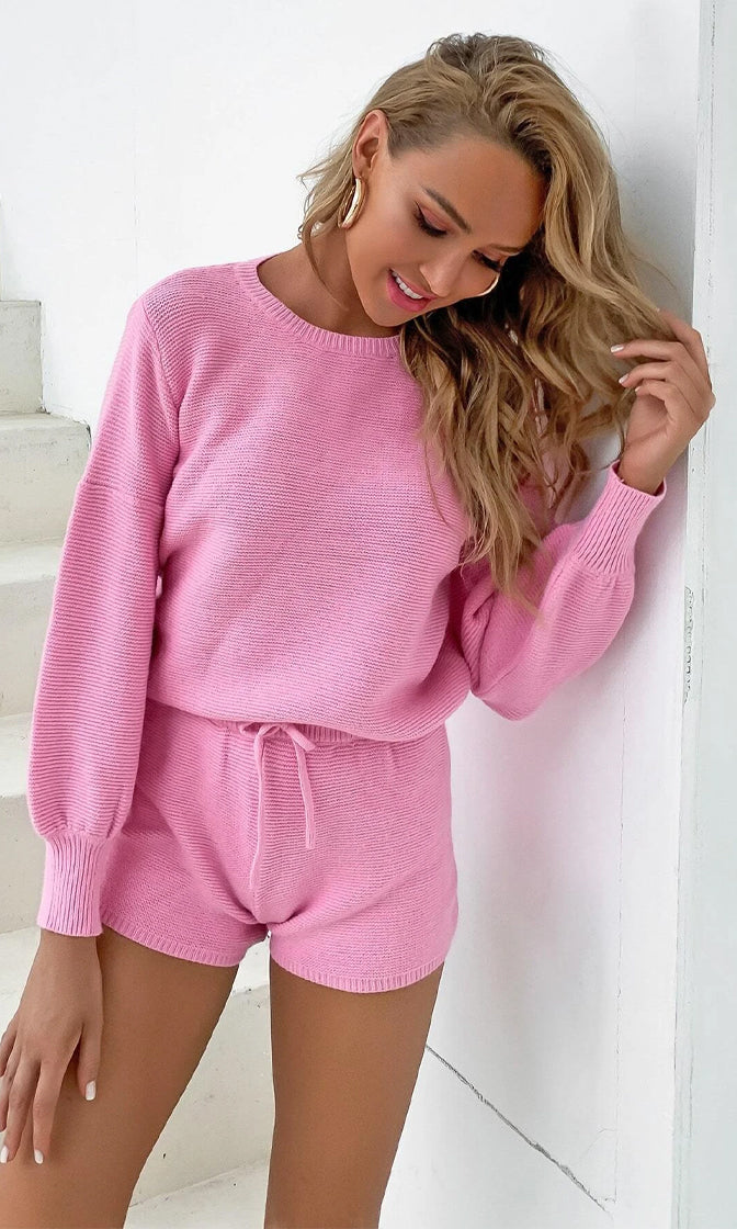 Cozy Moments Candy Pink Long Sleeve Crew Neck Crop Top Pullover Sweater And Shorts Two Piece Lounge Romper Set