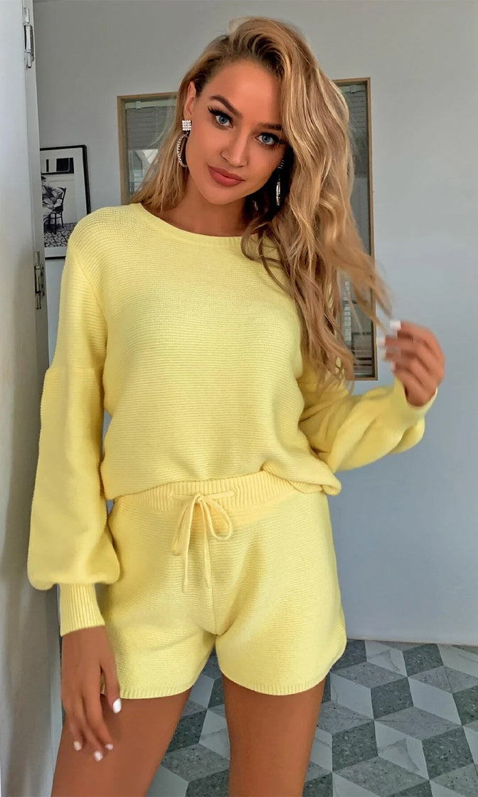 Cozy Moments Candy Yellow Long Sleeve Crew Neck Crop Top Pullover Sweater And Shorts Two Piece Lounge Romper Set