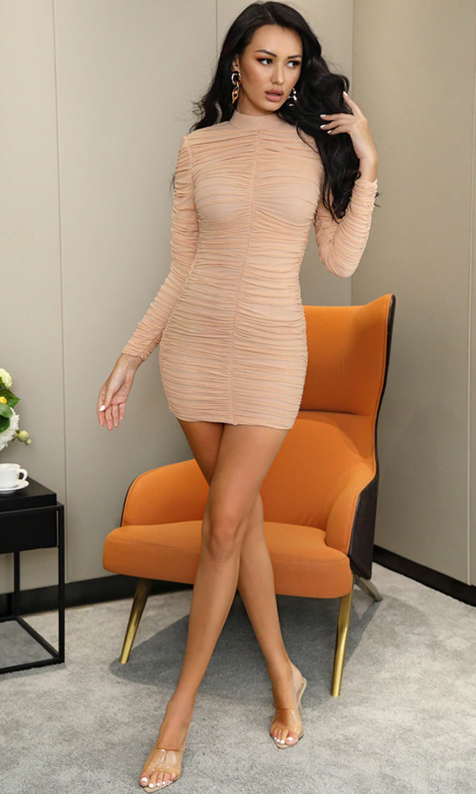 Forbidden Desire Nude Mesh Long Sleeve Mock Neck Ruched Bodycon Mini Dress