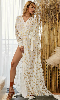 Shine Me Up Metallic Leaf Pattern Long Sleeve Cross Wrap V Neck Tie Waist Side Slit Casual Maxi Dress