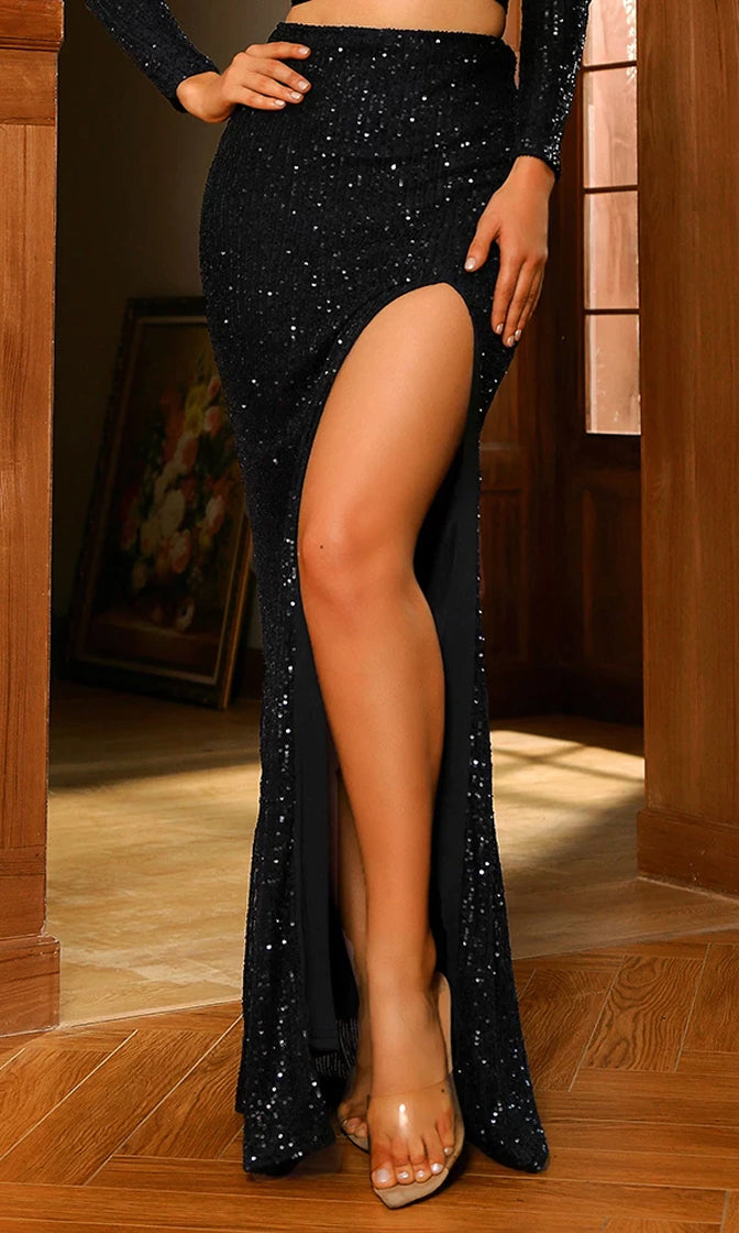 Glamorous Moment Black Sequin High Waist Front Slit Maxi Skirt