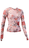 Blooming On Orange Floral Pattern Sheer Mesh Long Sleeve Crew Neck Top