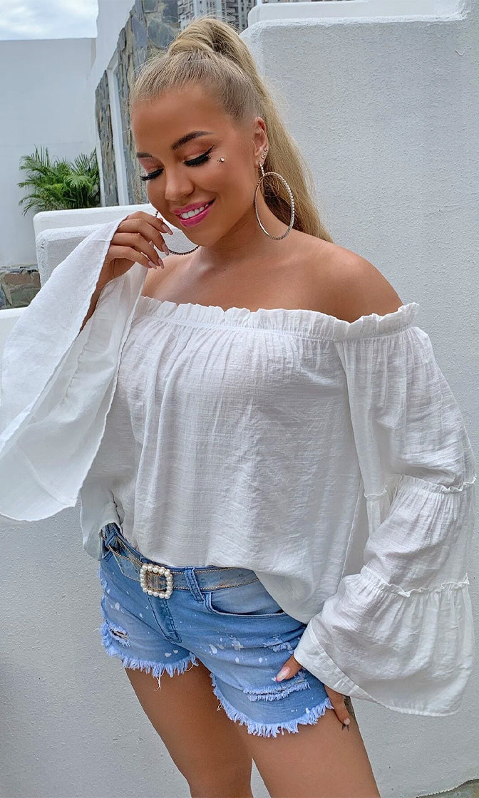 Easy And Free White Long Bell Sleeve Ruffle Off The Shoulder Chiffon Blouse Top