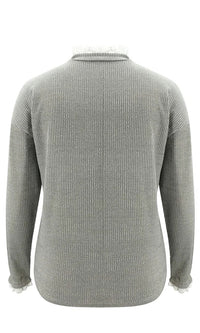 Warming Up To You Grey Rib Knit Long Sleeve Lace Trim Round Neck Pullover Sweater