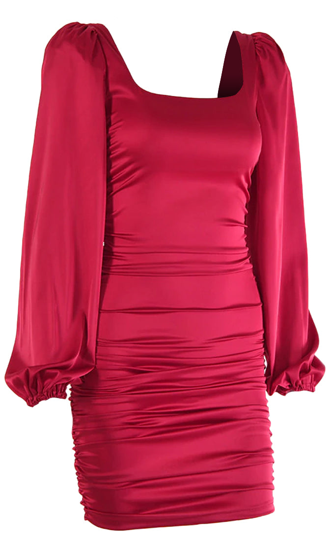 She's Got The Look Satin Long Puff Sleeve Square Neck Ruched Bodycon Mini Dress