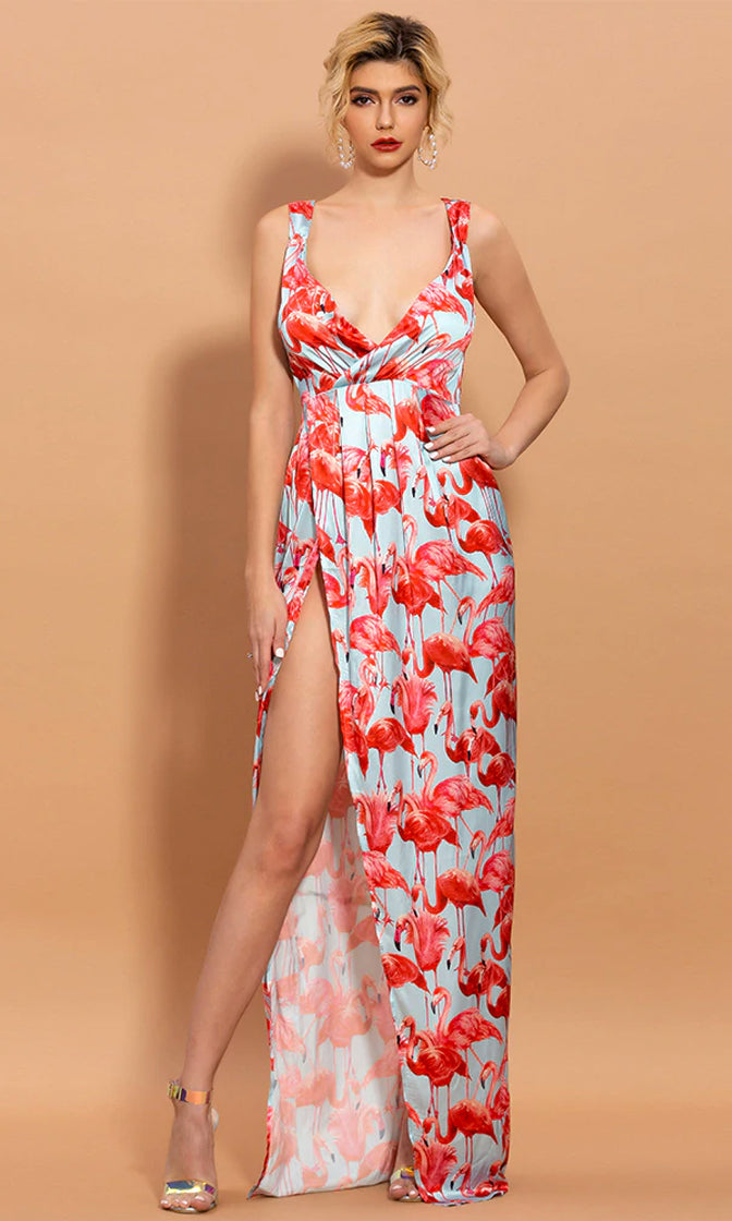 Beyond The Beach Red Flamingo Print Sleeveless Cross Wrap V Neckline Side Slit Pleat Casual Maxi Dress