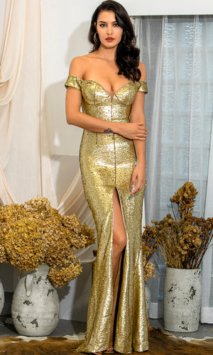Always Enchanting Gold Sequin Short Sleeve Off The Shoulder V Neck Front Slit Bodycon Mermaid Maxi Dress