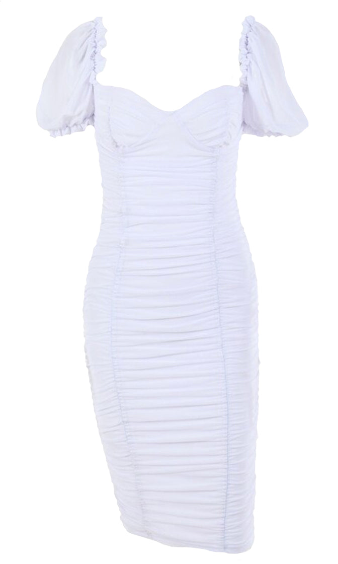 Catch Me If You Can Sheer Mesh Short Puff Sleeve Ruched V Neck Bodycon Midi Dress - 3 Colors Available