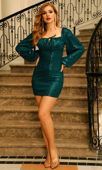 Jealous Streak Emerald Green Stripe Pattern Sequin Long Lantern Sleeve Square Neck Bodycon Mini Dress