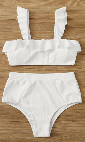 It's My Time Two Piece Bandage Short Sleeve Crop Top Cut Out Tie Thong Bikini Swimsuit