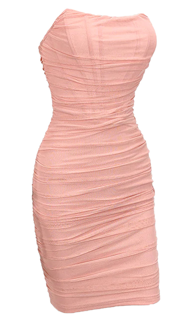 Night Prowl Sheer Mesh Strapless Scoop Neck Ruched Bodycon Mini Dress - 3 Colors Available