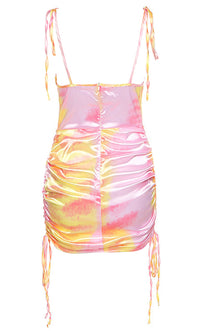 Across The Room Tie Dye Pattern Sleeveless Tie Spaghetti Strap Drape Neck Side Ruching Bodycon Mini Dress - 2 Colors Available