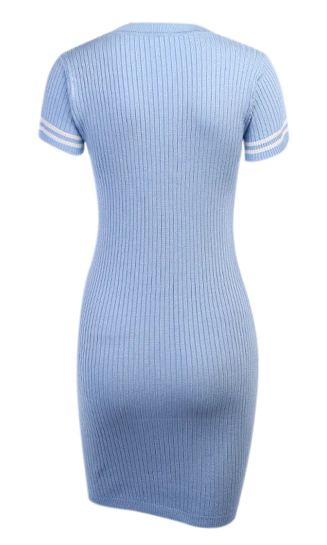 Coastal Attitude Ribbed Short Sleeve Stripe Crew Neck Casual Bodycon Mini Dress - 2 Colors Available