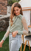 Captivating Smile Green Sheer Mesh Long Puff Sleeves Bow Tie Neck Blouse Top