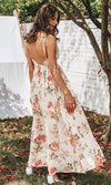 Flower Petals White Orange Floral Pattern Sleeveless Spaghetti Strap Cross Wrap V Neck Backless Casual Maxi Dress