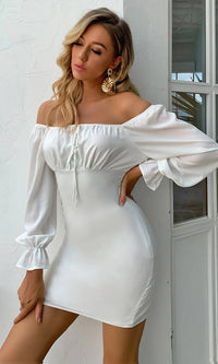Need An Answer White Long Puff Sleeve Off The Shoulder Bodycon Mini Dress