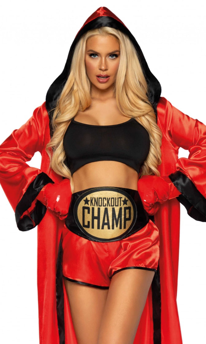 Always A Knockout Black Red Crop Top Shorts Hooded Robe 5 Piece Halloween Costume