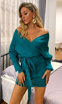 One Minute Blue Green Ribbed Long Lantern Sleeve Cross Wrap V Neck Tie Belt Bodycon Mini Dress