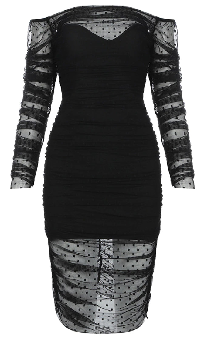 Having My Cake Black Sheer Mesh Polka Dot Pattern Long Sleeve Off The Shoulder Ruched Bodycon Bandage Midi Dress