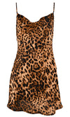 Almost Anything Brown Leopard Print Animal Pattern Sleeveless Spaghetti Strap Drape V Neck Mini Slip Dress
