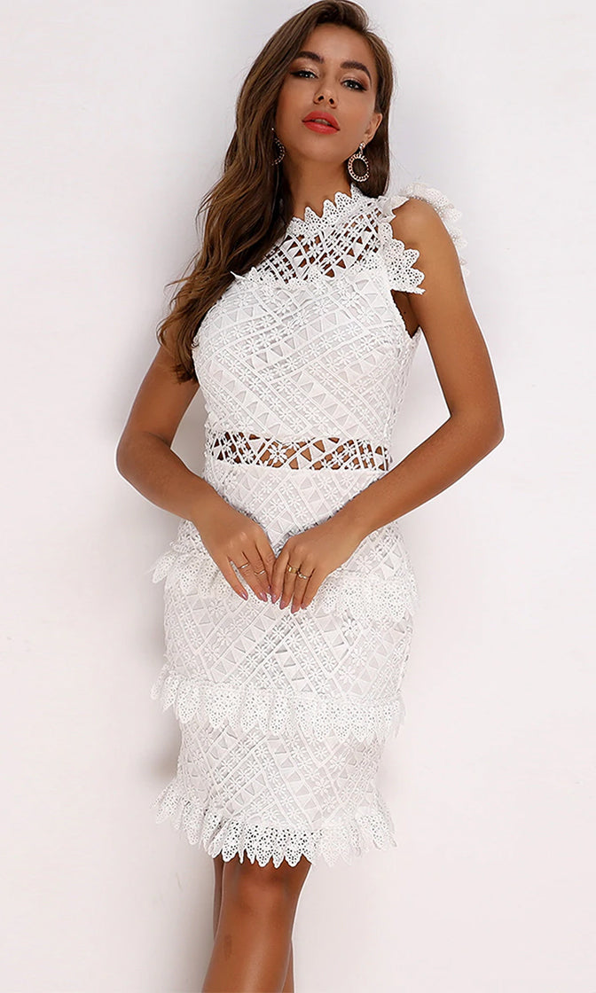 Lacy Daze White Sheer Lace Sleeveless High Neck Ruffle Cut Out Bodycon Mini Dress