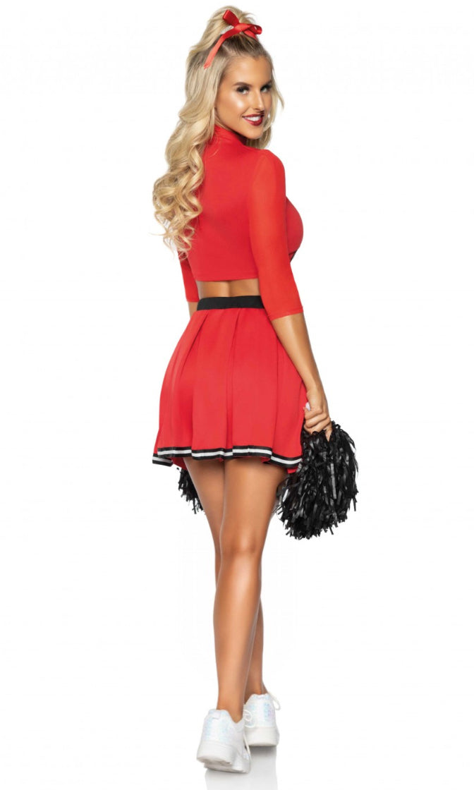 Cheer Me Up Black Red 3/4 Sleeve Mock Neck Crop Top Pleat Flare Mini Two Piece Dress Halloween Costume