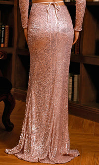 Glamorous Moment Rose Gold Sequin High Waist Front Slit Maxi Skirt